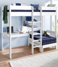 Mezzanine bed with worktop + shelves promo price Child's bed 3 Swiss . - Ikea DIY - The best IKEA hacks all in one place Room Design Bedroom, Girl Bedroom Designs, Home Room Design, Room Ideas Bedroom, Small Room Bedroom, Bedroom Loft, Bedroom Decor, Loft Beds For Small Rooms, Loft Beds For Teens