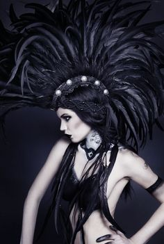 Burning man tribal headdress with feathers