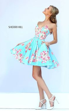Light Blue Print Sherri Hill 32246 Floral Party Dress