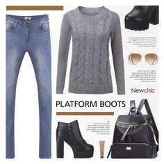 """Newchic - Kickin' It: Platform Boots"" by novalikarida ❤ liked on Polyvore featuring MAC Cosmetics"
