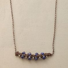 """AT MIDNIGHT NECKLACE--Intricate macramé captures faceted nuggets of blue quartz and silver colored beads in a dainty oxidized sterling silver and quartz necklace. Exclusive. Lobster clasp. 17""""L."""