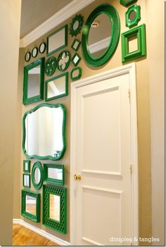 Mirror gallery wall- collect thrift store mirrors and paint them all the same color! I love this & you could do it in any color you choose! The wall would have to be painted a different color- perhaps black, lavender, or white? But great idea! Do It Yourself Design, Do It Yourself Home, Hm Deco, Mirror Gallery Wall, Gallery Walls, Home Living, Home Projects, Layout Design, Thrifting