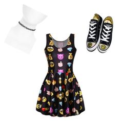 Emoji Dress by breasia11 on Polyvore featuring polyvore, fashion, style, Converse, Topshop and clothing