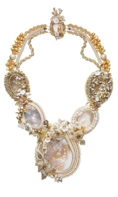 Bib-Style Necklace with Mother-of-Pearl Focals and Cultured Freshwater Pearls
