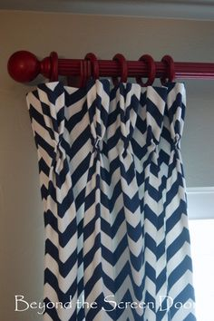 Navy U0026 White Chevron Paired With Red Curtain Hardware | Beyond The Screen  Door