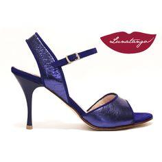 Mona » Cuero Metalizado Azul Gamuza Azul, taco 7,5 cm – Lunatango