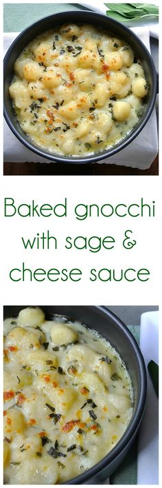 Baked gnocchi with sage and cheese sauce. So yummy!