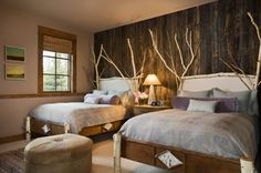 natural-textures-Rustic-Bedroom-Andesite-Residence-for-Bedroom-Interior-Inspiration. I love the accent wall texture and use of branches to bring organic forms into the bedroom.