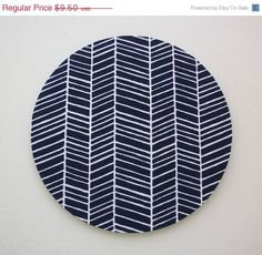 Christmas in July SALE Mouse Pad mousepad / Mat - Round -  herringbone chevron navy blue via Etsy