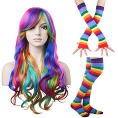 """27.5"""" Long and Wavy Rainbow Wig for Women Harajuku Style Costume Wigs with Colorful Stripe Long Knit Gloves Socks Set for Halloween Cosplay/Party Lolita (Rainbow WigGloves Socks Set)"""