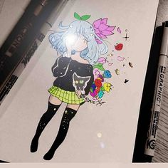 【gizer0】さんのInstagramをピンしています。 《Another coloring from @pixelatedpixel1 with flowers,cameras and kittens :3  #inktober #doodleart #female #blackhair #greenshirt #blueeyes #stars #space #universe #ink #pixelatedpixel1 #pixelpal #darkskin #manga #anime #animegirl #halo #planets #flowers #pantyhose #girl #cherryblossoms #bluehair #camera #kitten #cat》