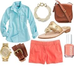 Shirt, watch, belt, nail polish, shorts, shoes, pearls, bag.  Lesson 2: Pastels are your best friend. Other than green and pink, of course. I paired a light blue oxford shirt with a pale coral short. Neither are really bright so they balance each other out. With accessories, I chose gold as the accent metal. The watch, belt, shoes, and pearls all have a touch of gold. I decided to choose a regular leather crossbody bag to match the belt.