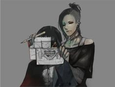 "Tokyo Ghoul { aka ""Tokyo Kushu"" } ~~ Kaneki and Uta ~ Its so cute ~ Like they're Designing the Mask Together! :3 << two people have done a cosplay of this and its AMAZING"
