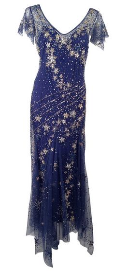 Bellville Sassoon Embellished Midnight Blue Tulle & Silk Star Studded Gown.