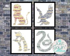 Harry Potter Hogwarts House carteles Word Cloud, Gryffindor, Ravenclaw, Hufflepuff y Slytherin metro arte de pared