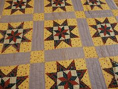 Antique Sawtooth Star Pattern Quilt Great Colors Early Calicos Nice | eBay, smoeast123