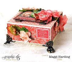 Box, Children's Hour, Maggi Harding, With Petaloo Flowers, Graphic 45 Scrapbook Journal, Scrapbook Paper, Altered Books, Altered Art, Paper Art, Paper Crafts, Diy Crafts, Mixed Media Boxes, Scrapbook Examples