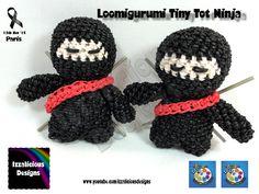 Loomigurumi Ninja Tiny Tot Figure - hook only - amigurumi with Rainbow L...
