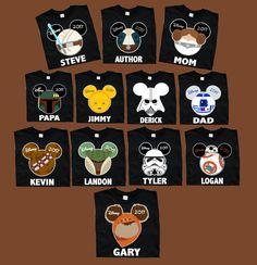 """Mickey & Minnie STAR WARS White Trim"" Vacation Family T-shirts #disneyshirts #disneytshirt #disneycustomshirt #customshirt #disneyvacation #castle #magickingdom #mickeyears #starwars #disneystarwars #cp30 #etsy"