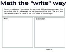 Writing in the math classroom is vital.  In these weekly problems, students solve the math problem and then explain their work in complete sentence...