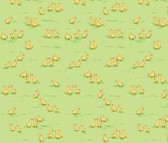 Little Baby Ducks on Green fabric by yvonne_herbst on Spoonflower - custom fabric