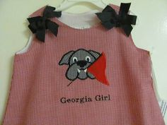 Gingham Aline Dress with Bulldog Face Applique by CappysCloset, $32.00