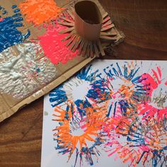 MAKE: Firework Paintings Kids Craft Box, Easy Crafts For Kids, Crafts To Do, Firework Painting, Painting For Kids, Monkeys, Fireworks, Paintings, Create