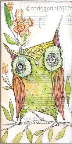 green and orange owl - illustration - 5 x 10 inches - limited edition and archival watercolor by cori dantini