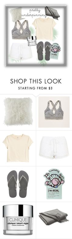 """Peaceful Night Alone"" by snuggle-styles ❤ liked on Polyvore featuring BCBGeneration, Aerie, Topshop, Havaianas, TONYMOLY, Clinique and Crate and Barrel"
