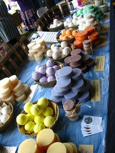 Stacks of circular soaps