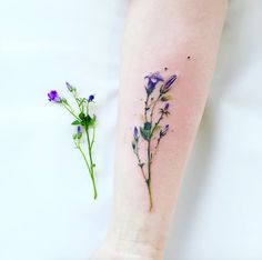 Hyper-realistic wildflower tattoo by Pis Saro