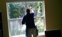 Window Genie Atlanta cleaning the windows at The Ronald McDonald House Charity. The more you give, the more you get!