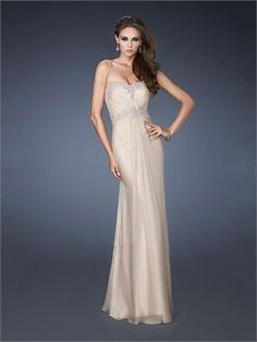 Beautiful Strapless Sweetheart Beadings Illusion Back Chiffon Prom Dress PD11287