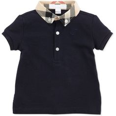Burberry Mini Pique Polo Shirt, Navy featuring polyvore women's fashion clothing tops baby boy polo shirts holiday tops cocktail tops navy polo shirt navy top