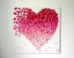 Leichte rosa Ombre Schmetterling Herz auf grauem Hintergrund - MADE TO ORDER  Hunderte von 1 Schmetterlinge in 3 Farben hellrosa und weiß kommen zusammen auf der Flucht, ein Herz zu bilden. Schmetterlinge aus Cardstock Qualität gefertigt und wurden eins nach dem anderen auf eine Künstlerleinwand gemalt grau angefügte.  Möchte einen romantischen und Spaß modernen Touch zu jedem möglichem Raum in Ihrem Haus - wunderbares Gespräch Stück hinzufügen. Einzigartige und berührend Geburtstag…
