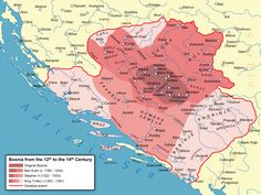 Bosnia and Herzegovin: Bosnia in the Middle Ages spanning the Banate of Bosnia and the succeeding Kingdom of Bosnia.// Medieval Bosnian state expansion map with main labels in English Middle Ages History, Historical Maps, 14th Century, Bosnia And Herzegovina, Albania, World History, Slovenia, The Expanse, Social Studies