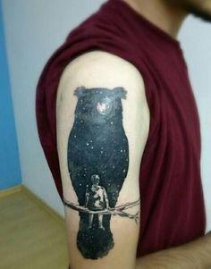 Cosmic Owl Tattoo Design