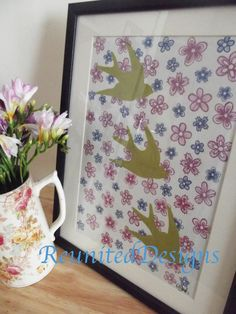 Three Swallows Dtisy Floral Designs Hand drawn onto fabric etsy.com/shop/ReunitedDesigns