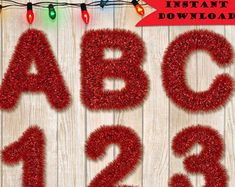 CHRISTMAS ALPHAS TINSEL - Holiday Lettering, Christmas Letter, Tinsel Font, Holiday Decor, Instant Download, 300 dpi