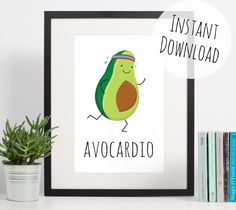 Avocado Print Gym Art Avocardio Funny Pun by DoodleAndStitchShop cute gift idea Pop Up, Avocado Cartoon, Cute Avocado, Funny Greeting Cards, Funny Greetings, Gym Decor, Funny Prints, Budget, Kitchen Wall Art
