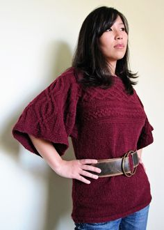 Boxy yet feminine sweater. Requires only side seaming to finish. Might work as an early- to mid-maternity sweater.