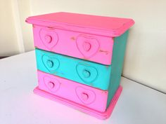 shabby chic jewelry box pink and turquoise by MySugarBlossom, $31.00