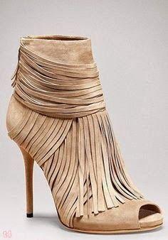 Tan peep toe fringe heels #heels #nude #shoelover