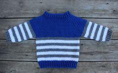 The Striped Fisher Sweater – coastal mist creations Crochet Boys Sweater Pattern Free, Caron Cake Crochet Patterns, Baby Boy Knitting Patterns, Baby Sweater Patterns, Crochet For Boys, Knitting Designs, Baby Patterns, Baby Knitting, Boy Crochet