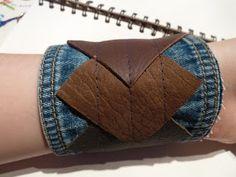 Denim cuff Denim Bracelet, Fabric Bracelets, Jean Crafts, Denim Crafts, Textile Jewelry, Fabric Jewelry, Jewellery, Leather Cuffs, Leather Jewelry