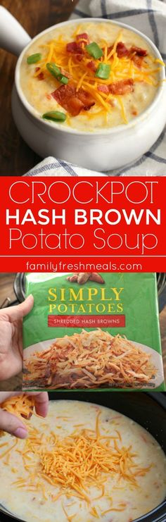 Loaded Crockpot Hash Brown Potato Soup - Family Favorite Recipe - Hashbrown Potato Soup Crockpot, Crock Pot Potato Soup, Potato Soup Recipes, Hasbrown Potato Soup, Shredded Potato Casserole, Shredded Hashbrown Recipes, Cheesy Potato Soup, Slow Cooker Potato Soup, Instant Potato Soup Recipe