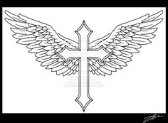 how to draw a cross with wings projects and ideas to try blog rh pinterest com cross with wings tattoo on chest cross angel wings tattoo
