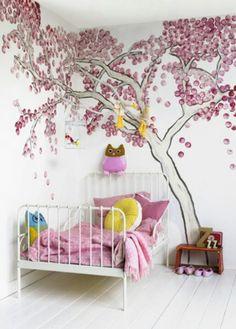 Tree mural; wisteria-like