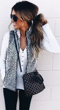 Fuzzy Faux Fur Winter Outerwear Sherpa Fleece Vest - Fall Shirts - Ideas of Fall Shirts Fall Shirts for sales. - Halloween Sale and Extra off zip up vest outfit women winter fur vests fuzzy faux sherpa vest ladies must have winter clothes 2018 Vest Outfits For Women, Mode Outfits, Casual Outfits, Fashion Outfits, Womens Fashion, Ladies Fashion, Clothes For Women In 20's, Casual Clothes, Fashion Clothes