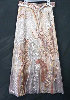 "Vintage 70s NELLY DE GRAB Metallic Maxi Skirt Size S 26"" Waist Paisley Floral #NellydeGrab"